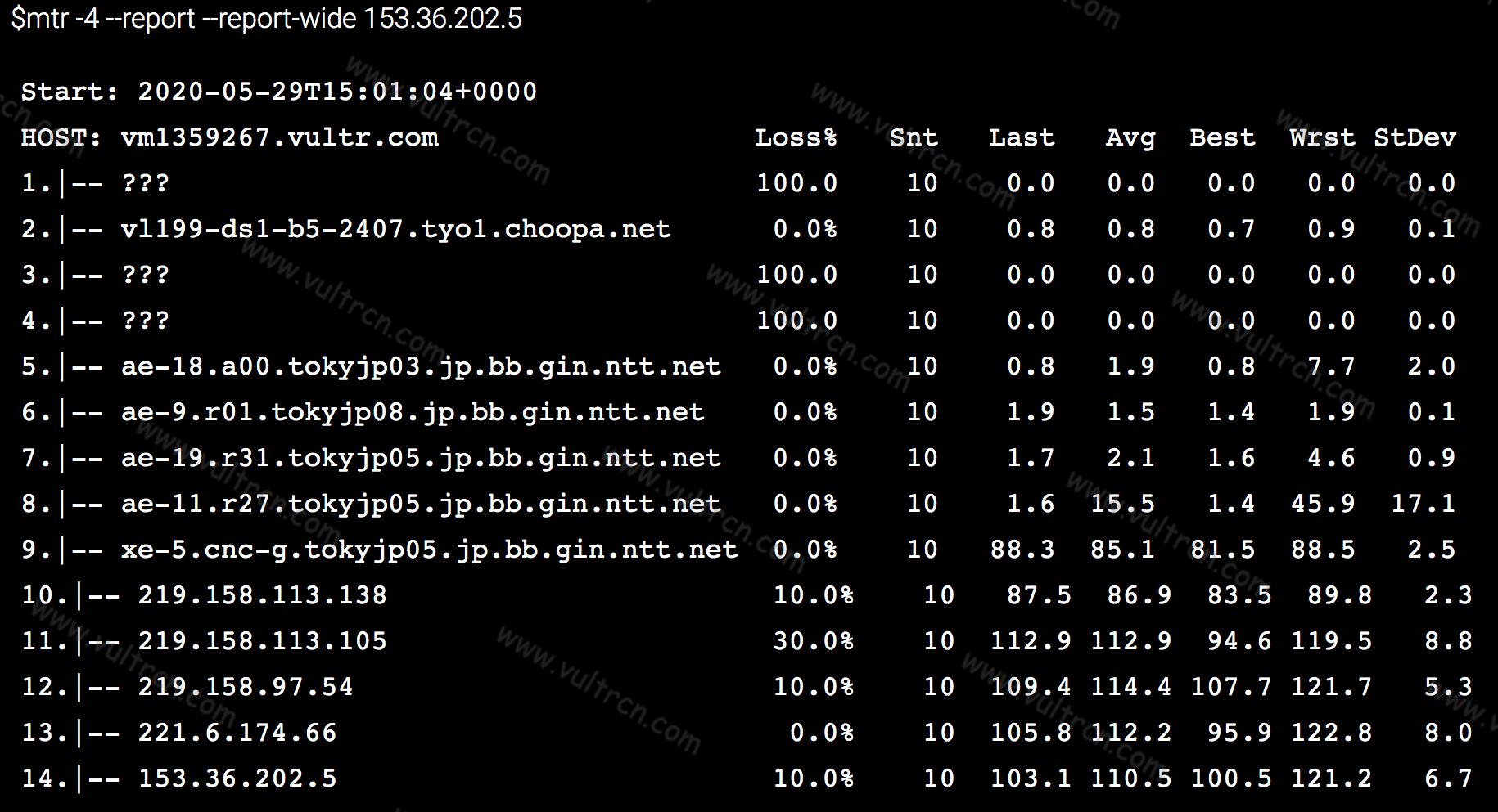 Vultr VPS 回程路由 TraceRoute 信息(从服务器到本地)测试教程