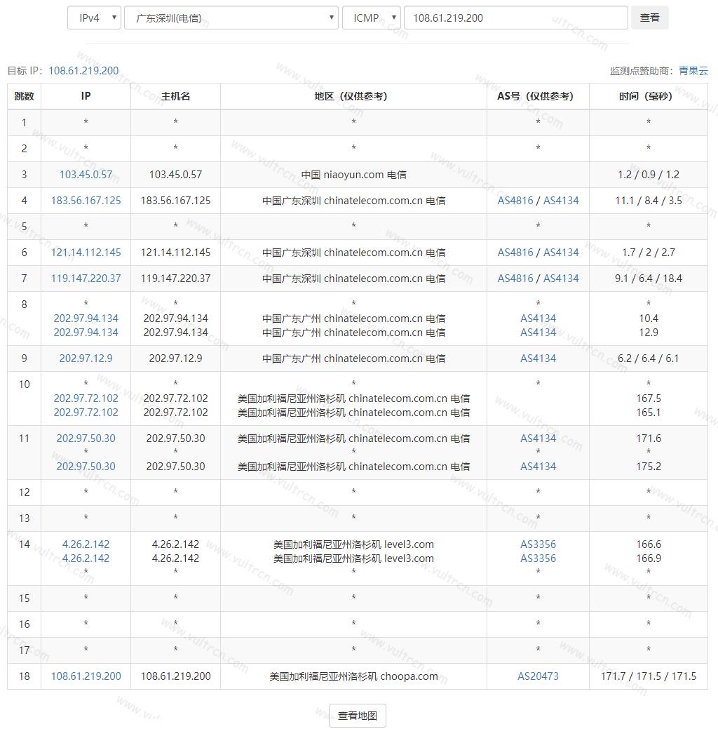 Vultr VPS 去程路由 TraceRoute 信息(从本地到服务器)测试教程